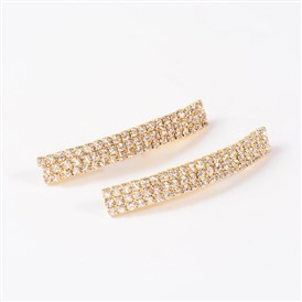 Rectangle Golden Tone Brass Rhinestone Tube Beads, 42.5x6.5x5mm, Hole: 3mm