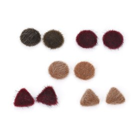 Faux Mink Fur Covered Cabochons, with Aluminum Bottom, Half Round/Dome and Triangle