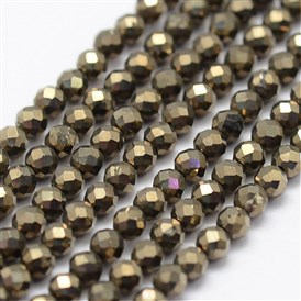 Natural Pyrite Beads Strands, Faceted, Round