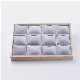 Cuboid Wood Bracelet Displays, Covered with Velvet, 12 Grids Pillows Without Lid Tray Jewelry Storage Holder