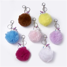 Pom Pom Ball Keychain, with Alloy Lobster Claw Clasp and Iron Key Ring and Chain, CCB Plastic Beads, Unicorn