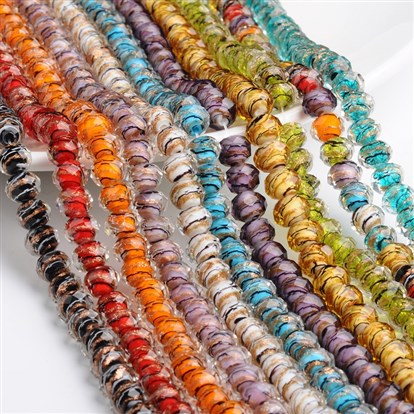 Handmade Gold Sand Lampwork Rondelle Beads Strands, Faceted