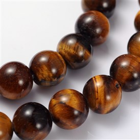 Gemstone Beads Strands, Grade AB+ Tiger Eye, Round, 8mm, Hole: 1mm; 15~16