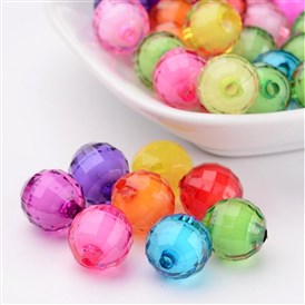 Transparent Acrylic Beads, Bead in Bead, Faceted, Round, Hole: 2mm