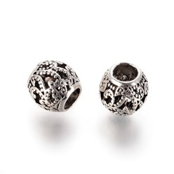 Antique Silver Alloy European Beads, Large Hole Beads, Hollow, Round, Antique Silver, 10x9.5mm, Hole: 5mm