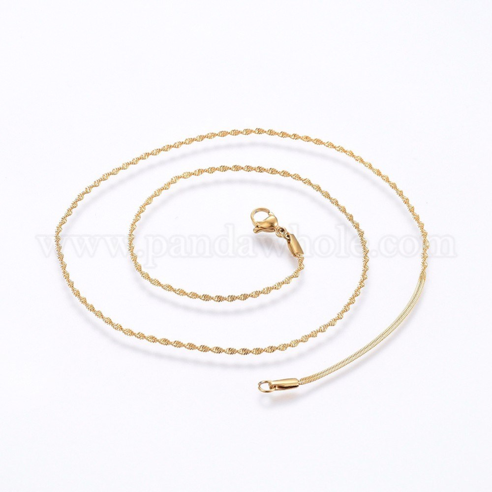 304 Stainless Steel Singapore Chain Necklaces, with Lobster Claw Clasps