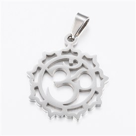 304 Stainless Steel Yoga Pendants, Flower with Ohm