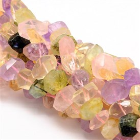 Faceted Nuggets Natural Quartz Bead Strands, 15~22x10~16x10~16mm, Hole: 1~1.2mm; about 15.35