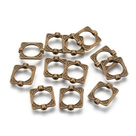Tibetan Style Alloy Bead Frames, Lead Free & Cadmium Free, Rectangle