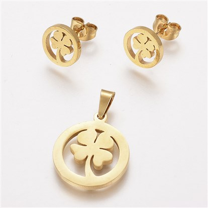 304 Stainless Steel Jewelry Sets, Pendants and Stud Earrings, Flat Round with Four Leaf Clover