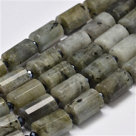 Faceted Column Natural Labradorite Bead Strands, 14x10mm, Hole: 1mm; about 22pcs/strand, 15.5