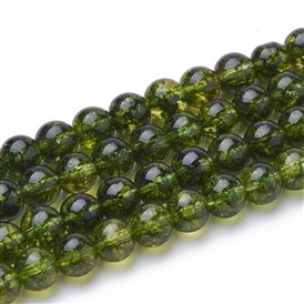 Natural Peridot Beads Strands, Round, Dyed