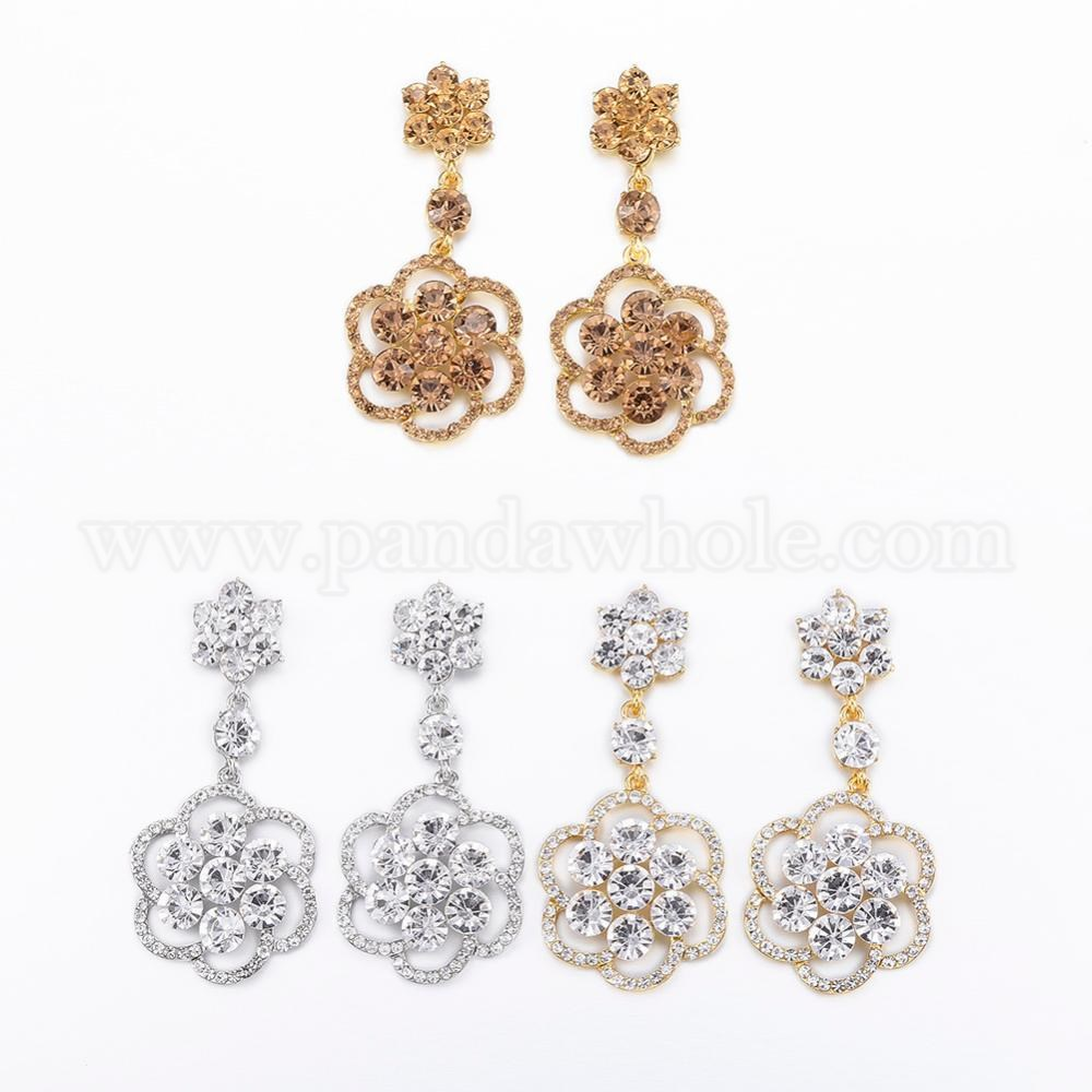 Wholesale Alloy Glass Rhinestone Ear Studs Dangle