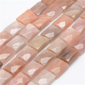 Natural Sunstone Beads Strands, Faceted, Rectangle