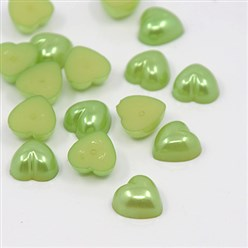 YellowGreen Acrylic Imitation Pearl Cabochons, Dyed, Heart, YellowGreen, 10.5x10.5x5mm; about 1500pcs/bag