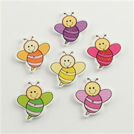 2-Hole Printed Wooden Buttons, Bee, Mixed Color, 33x30x2.5mm, Hole: 2mm