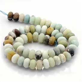 Nature Frosted Amazonite Beads Strands, Rondelle