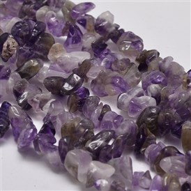Chip Natural Amethyst Beads Strands, Dyed, 5~8x5~8mm, Hole: 1mm; 34""