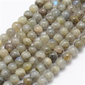 Natural Labradorite Beads Strands, Grade A-, Round