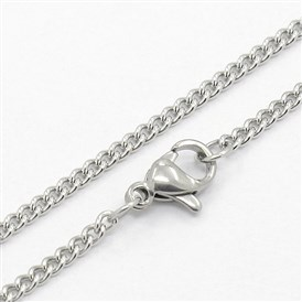 "304 Stainless Steel Curb Chain Necklaces, with Lobster Claw Clasps, 19.7""(500mm)"