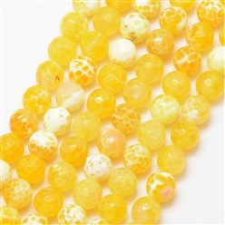 Yellow Natural Fire Agate Bead Strands, Round, Grade A, Faceted, Dyed & Heated, Yellow, 8mm, Hole: 1mm; about 47pcs/strand, 15""