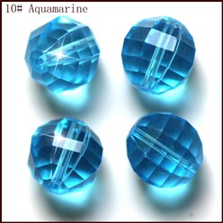 DeepSkyBlue Imitation Austrian Crystal Beads, Grade AAA, Faceted, Round, DeepSkyBlue, 10mm, Hole: 0.9~1mm
