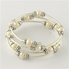 Three Loops Pearl Bead Wrap Bracelets, with Brass Tube Beads and Steel Memory Wire, 45mm