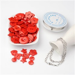 Red Free Tutorial DIY Jewelry Sets For Bracelet Making, Mixed Acrylic Buttons, Copper Wire and Iron Bracelets, Red, 205mm
