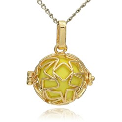 ChampagneYellow Golden Tone Brass Hollow Round Cage Mexican Ball Pendants, with No Hole Spray Painted Brass Ball Beads, ChampagneYellow, 23x24x18mm, Hole: 3x8mm