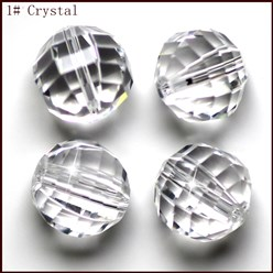 Clear Imitation Austrian Crystal Beads, Grade AAA, Faceted, Round, Clear, 10mm, Hole: 0.9~1mm