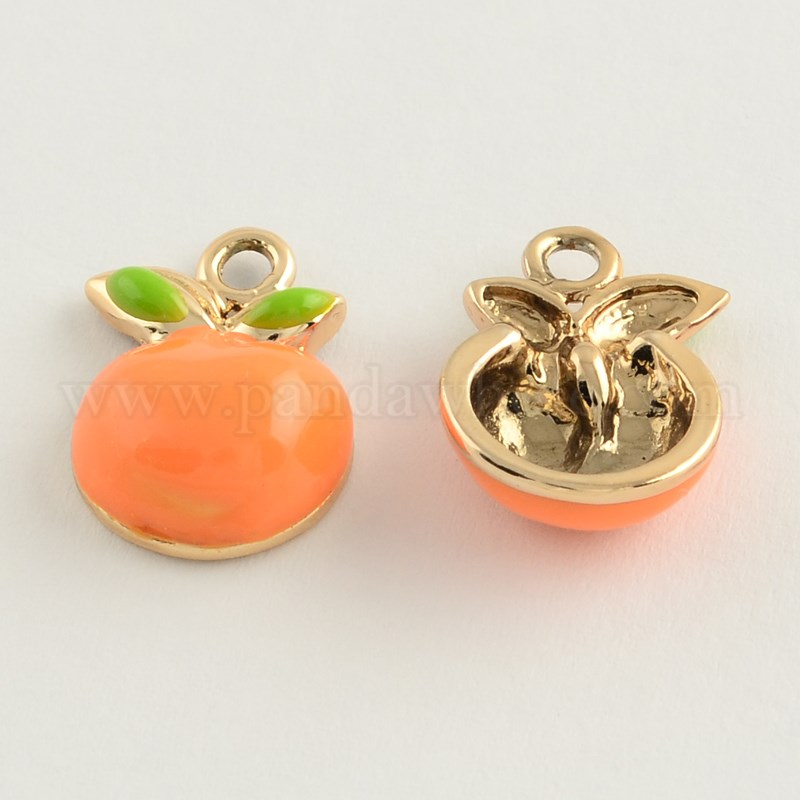 Metal slider with a orange resin cabochon. Spring time orange and green