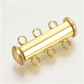 Brass Slide Lock Clasps, 3-Strand, 6-Hole, Magnetic, Tube