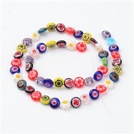 Handmade Millefiori Glass Bead Strands, Single Flower Design, Flat Round