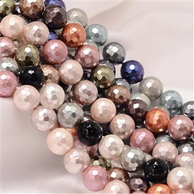 Dyed Faceted Round Shell Pearl Bead Strands