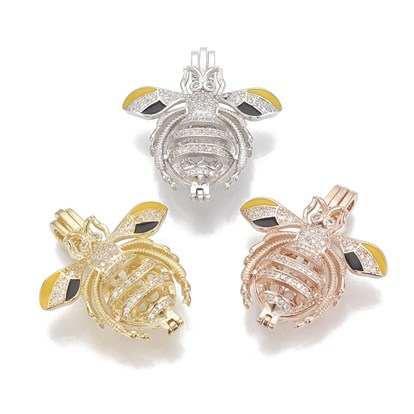 Alloy Enamel Diffuser Locket Pendants, with Micro Pave Cubic Zirconia, Cage Pendants, Bees, Clear