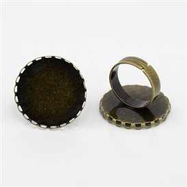 Brass Ring Shanks, Pad Ring Components, For Vintage Rings Making, Adjustable, Round, 25mm, Inner Diameter: 17.5mm