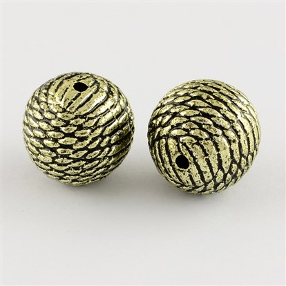 Round Antique Acrylic Beads, 20mm, Hole: 2mm; about 120pcs/500g-1