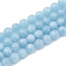 Natural Aquamarine Beads Strands, Dyed, Round