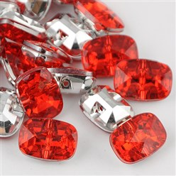 Cerise Taiwan Acrylic Rhinestone Buttons, Faceted, 1-Hole, Rectangle, Cerise, 30x21x10.5mm, Hole: 2mm