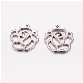 Valentine Gifts Idea for Her 2015 304 Stainless Steel Pendants, Flower, 16x15x1mm, Hole: 1mm