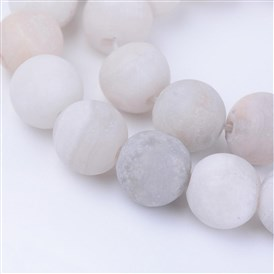 Natural Agate Beads Strands, Frosted, Round, Dyed