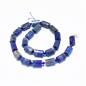 Natural Lapis Lazuli Beads Strands, Faceted, Column