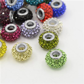 Resin Rhinestone European Beads, Large Hole Beads, Rondelle, Platinum Metal Color, 15x10mm, Hole: 5mm