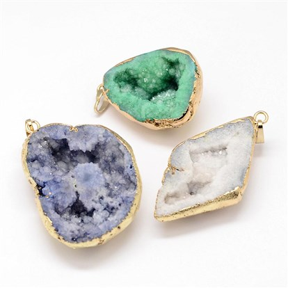 Electroplated Natural & Dyed Druzy Agate Pendants, with Golden Plated Brass Findings-1