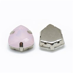 Rose Water Opal Sew on Rhinestone, K9 Glass Rhinestone, with Platinum Tone Brass Prong Settings, Garments Accessories, Triangle, Rose Water Opal, 12.5x12x6mm, Hole: 0.8mm