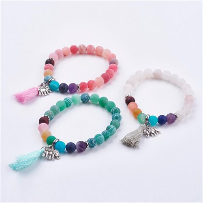 Frosted Mixed Gemstone Beaded Stretch Bracelets, with Alloy Findings & Cotton Thread Tassels-1