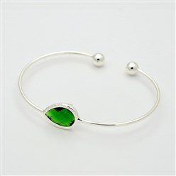 Green Silver Plated Brass Glass Cuff Bangles, Torque Bangles, Green, 40x57mm
