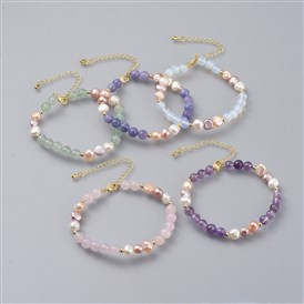 Beaded Bracelets, with Natural Pearl Beads, Gemstone Beads and Golden Plated Brass Chain Extender and Spacer Beads