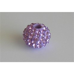 Violet Grade A Rhinestone European Beads, Large Hole Beads, Resin, with Silver Color Brass Core, Rondelle, Violet, 12x8mm, Hole: 4mm