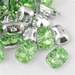 LightGreen Taiwan Acrylic Rhinestone Buttons, Faceted, 1-Hole, Rectangle, LightGreen, 30x21x10.5mm, Hole: 2mm